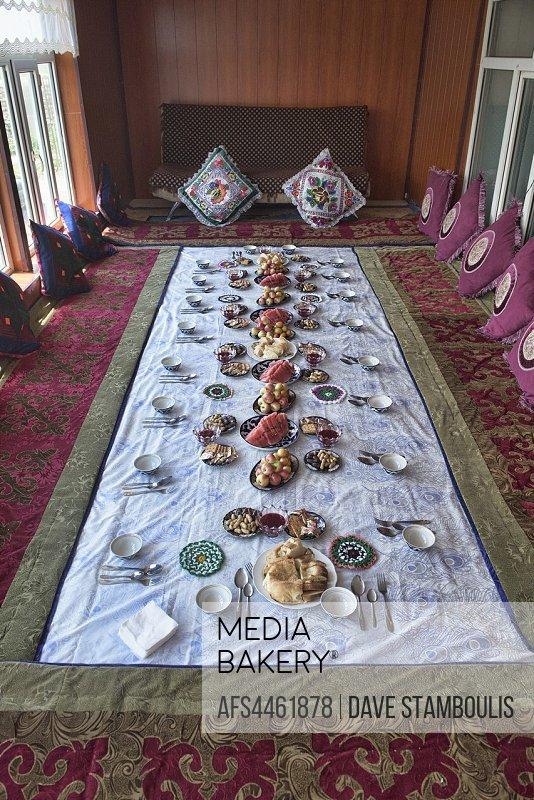 Traditional Kyrgyz welcoming snacks, Sary Mogul, Kygyzstan.
