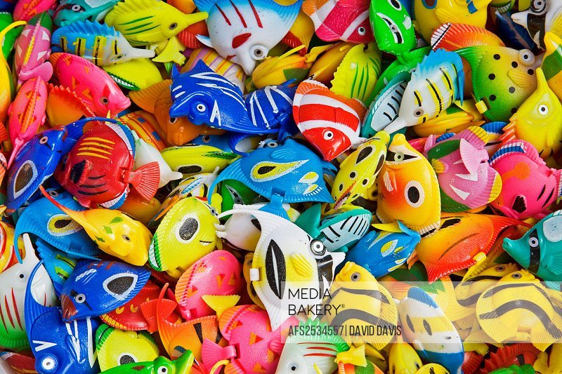 Colorful toys used to decorate an aquarium