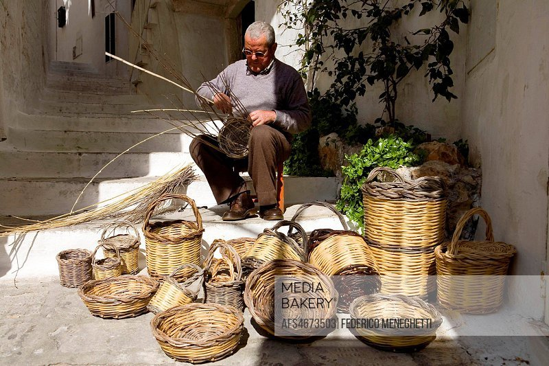 Wicker basket, Ostuni, Puglia, Italy