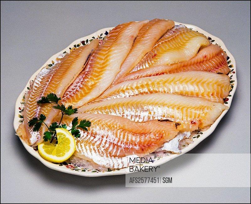 Cod fish fillets on platter