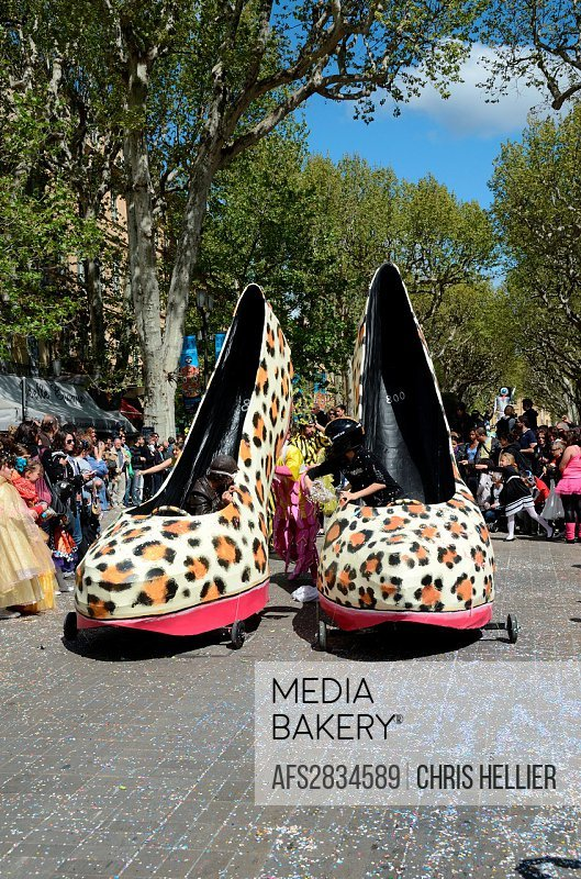 Giant Shoe Cars or Novelty Cars at Spring Carnaval Cours Mirabeau Aix-en-Provence Provence France