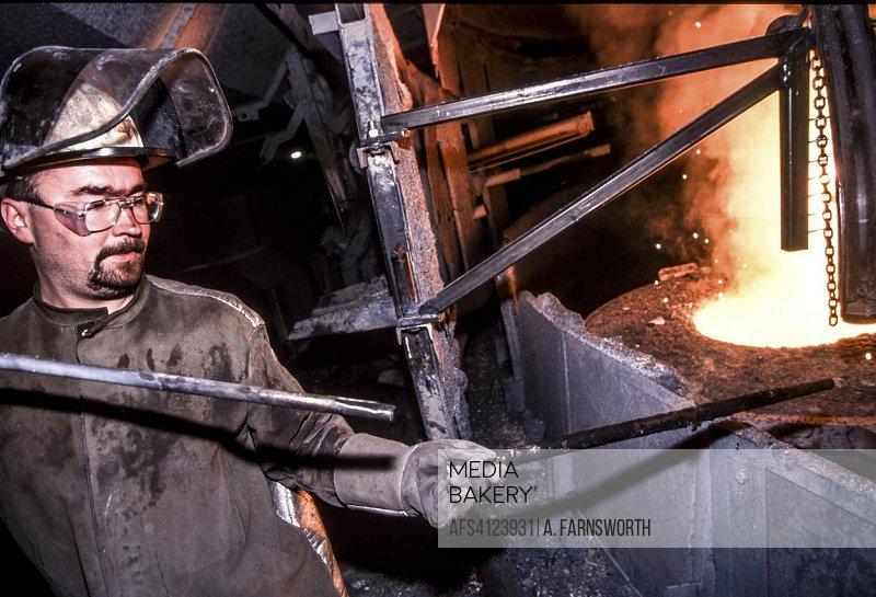 LANDSKRONA SWEDEN Steelworkers in Steel mill.