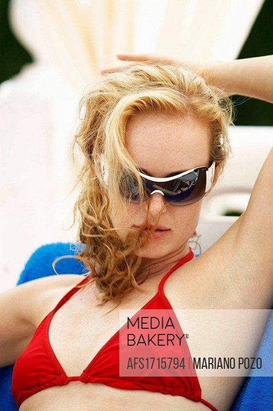 30 years old woman in red bikini