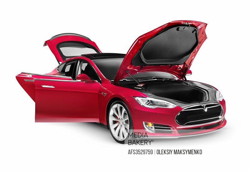 Tesla Model S P85D electric car with open doors and hood isolated on white background with clipping path.