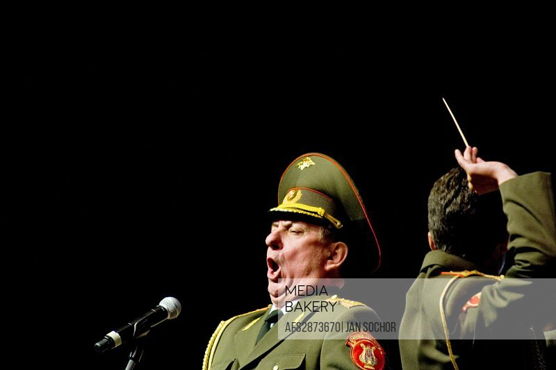 "A bass soloist of the Russian Army Choir ""Alexandrov Ensemble"" singing solo part in the concert given in a small Czech town Loket, 14 June 2009  Alexa..."