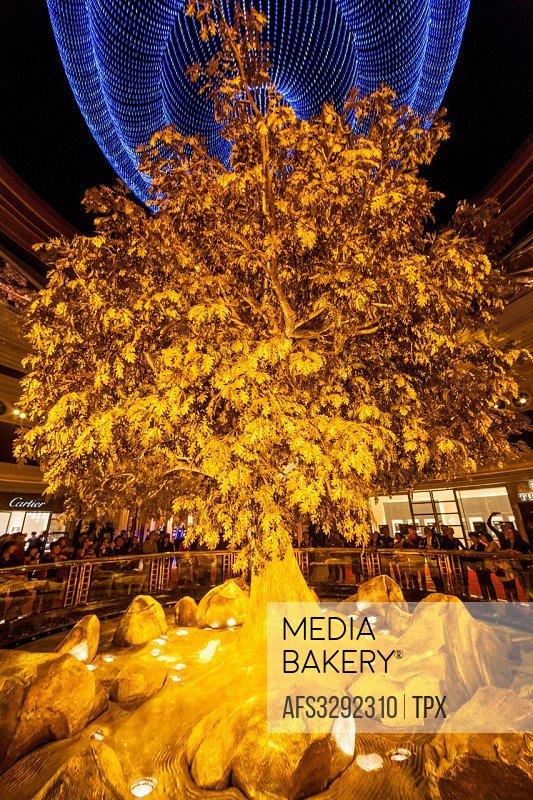 China, Macau, Wynn Hotel and Casino, The Atrium Tree of Prosperity Show