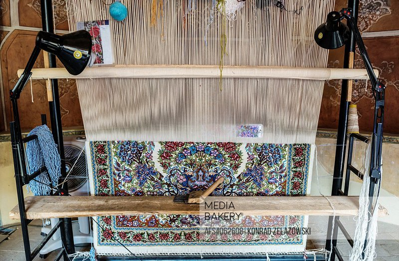 Carpet loom in traditional Persian historic house called Ameri House, built during the Zand era for governor Agha Ameri in Kashan, Iran.