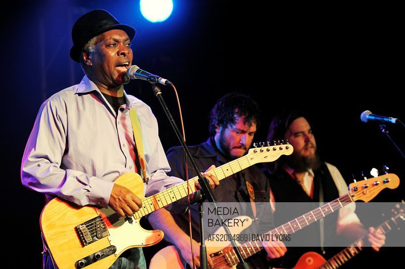 Booker T  Jones, US blues singer musician performing in the main stage marquee  Maryport Blues Festival, 2010  Cumbria, England