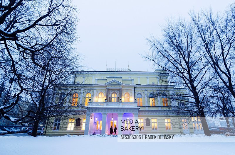 winter shot, neo-renaisance palace Zofin, Slavic Island, Prague, Czech Republic