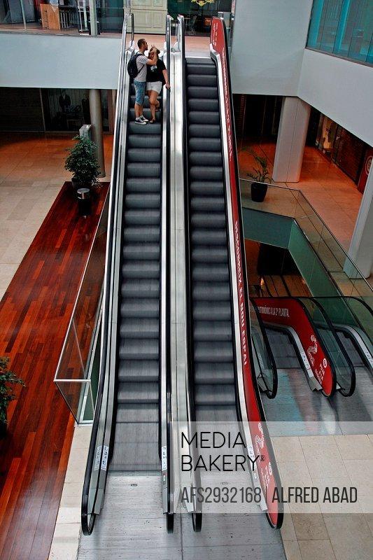 Escalators, shopping center Maremagnum, Barcelona, Catalonia, Spain