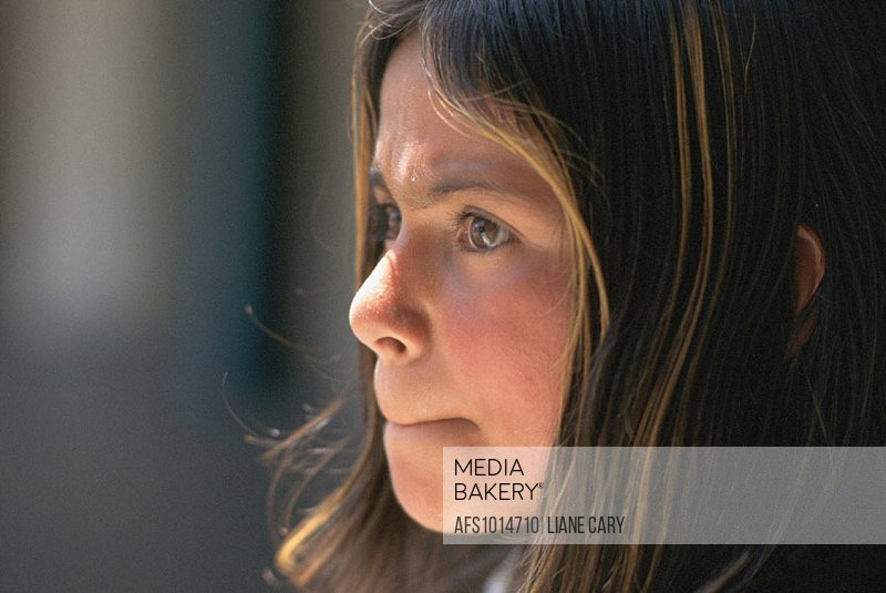 Young girl with worried look