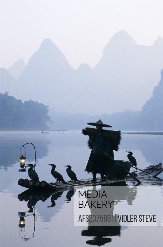 Asia, China, Cormorant fisherman, Dawn, Guangxi, Guilin, Holiday, Landmark, Li river, Model, Province, Released, Tourism, Travel