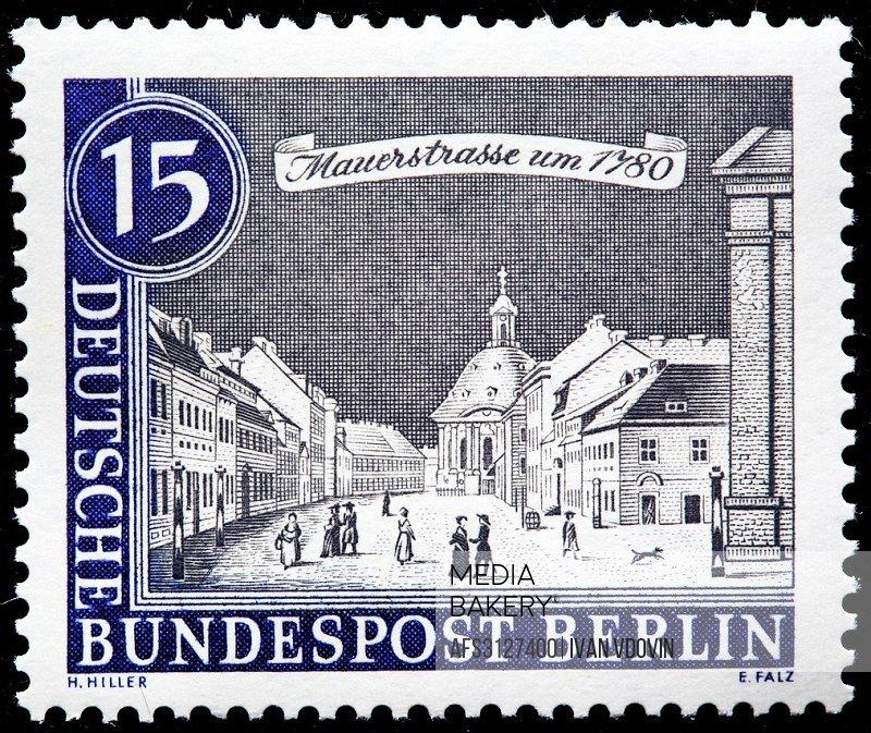 Mauer Street, 1780, postage stamp, Germany, 1962