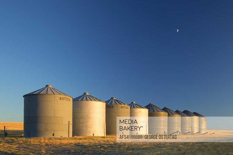 Grain bins, Broadwater County, Montana.