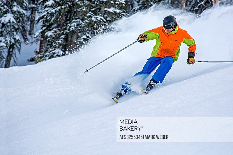 Elijah Weber skiing Limelight on Bald Mountain at Sun Valley Resort in the city of Ketchum in central Idaho.
