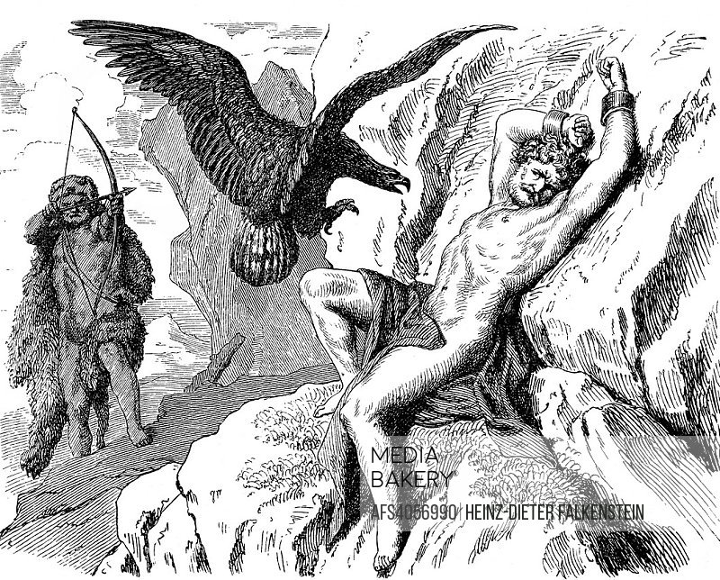 Heracles freeing Prometheus from his torment by the eagle, Greek mythology.