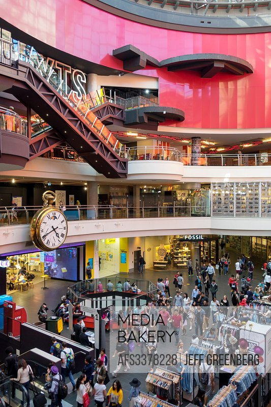Australia, Victoria, Melbourne, Central Business District, CBD, Central Dome, center, centre, mall, shopping, giant clock, timepiece, escalator.