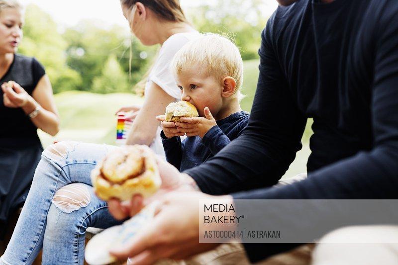 Family having meal in park
