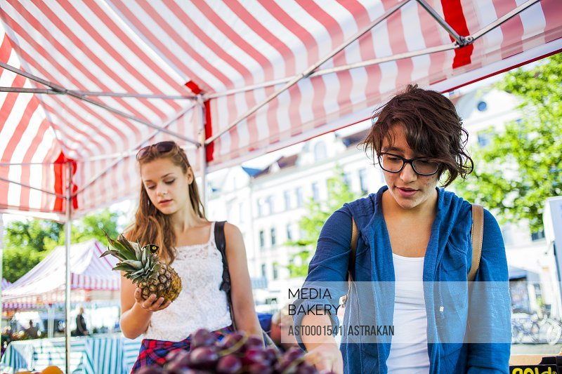Girls buying fruits at stall in market