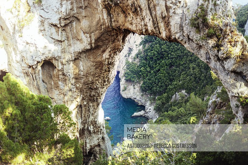 High angle view of Lovers Arch at Capri island