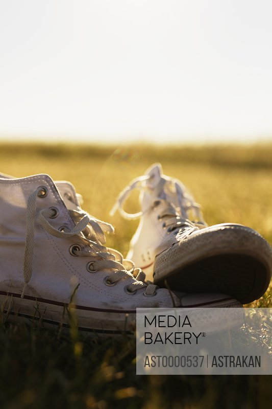 Close-up of white canvas shoes on grassy field against clear sky