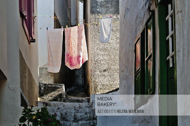 Clothesline in narrow street