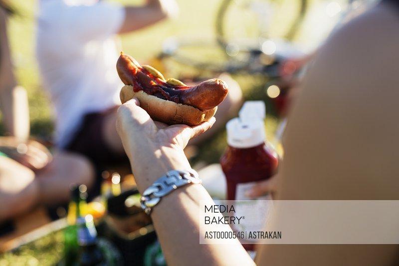 Close-up of woman holding hotdog at picnic