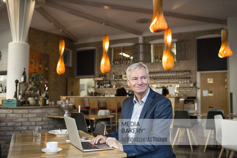 Smiling businessman looking away while using laptop in restaurant