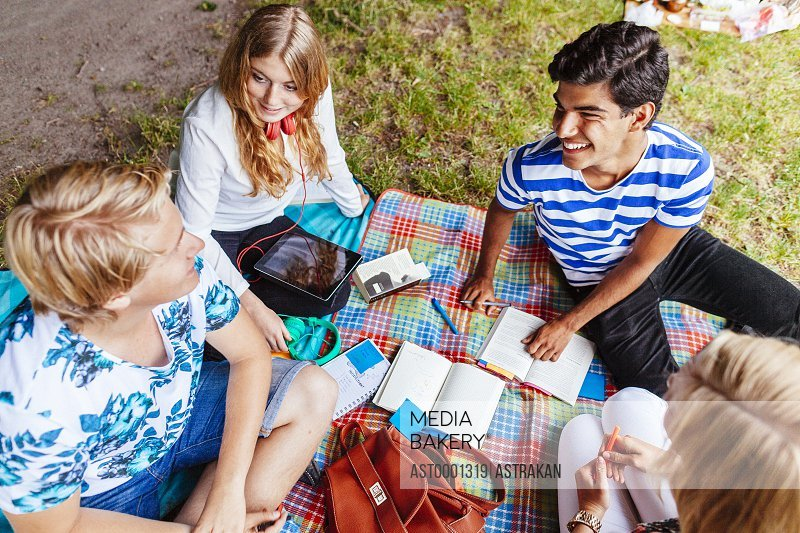 High angle view of multi-ethnic friends studying in park