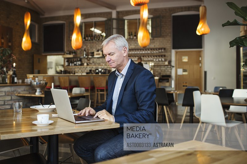Concentrated businessman using laptop at table in restaurant