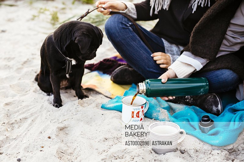 Dog looking at woman pouring coffee in mug at beach