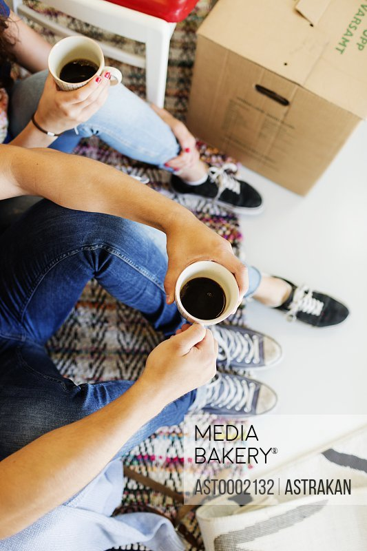 High angle view of young couple having coffee break during moving house