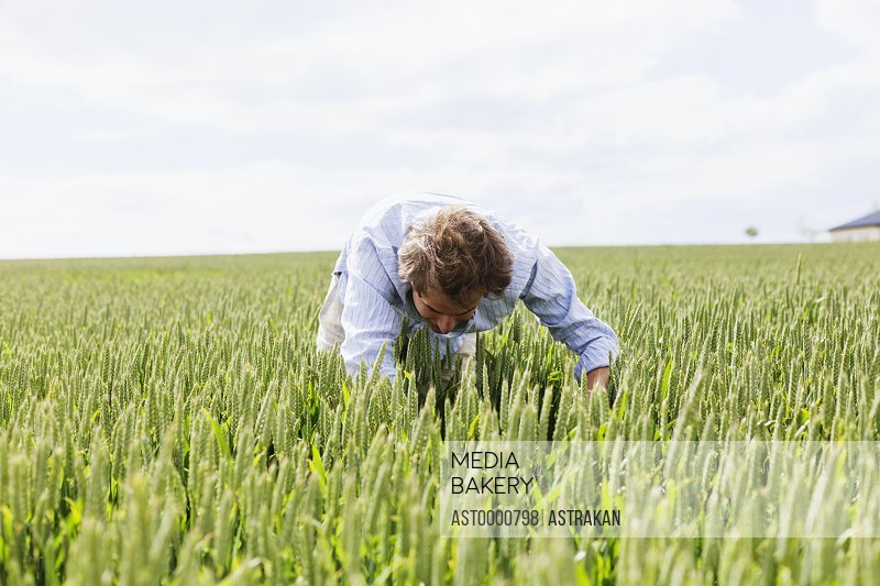 Young man searching in field against sky