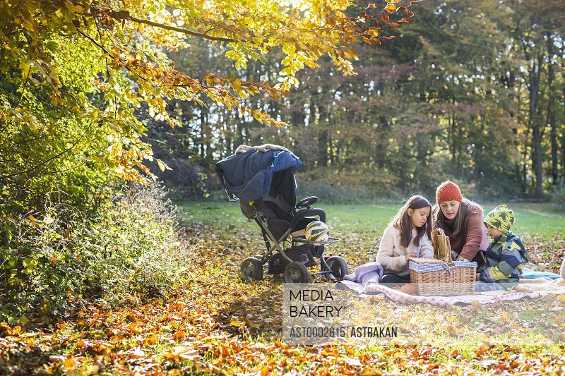 Mother and children looking into basket during picnic in forest