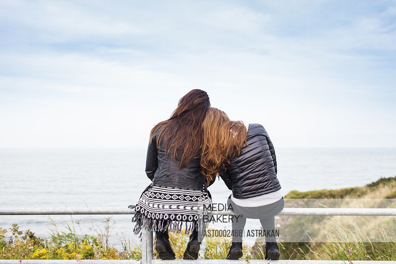 Rear view of female friends sitting on railing against sky