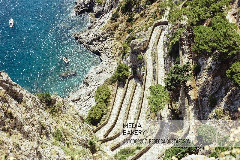 High angle view of mountain by sea at Amalfi Coast