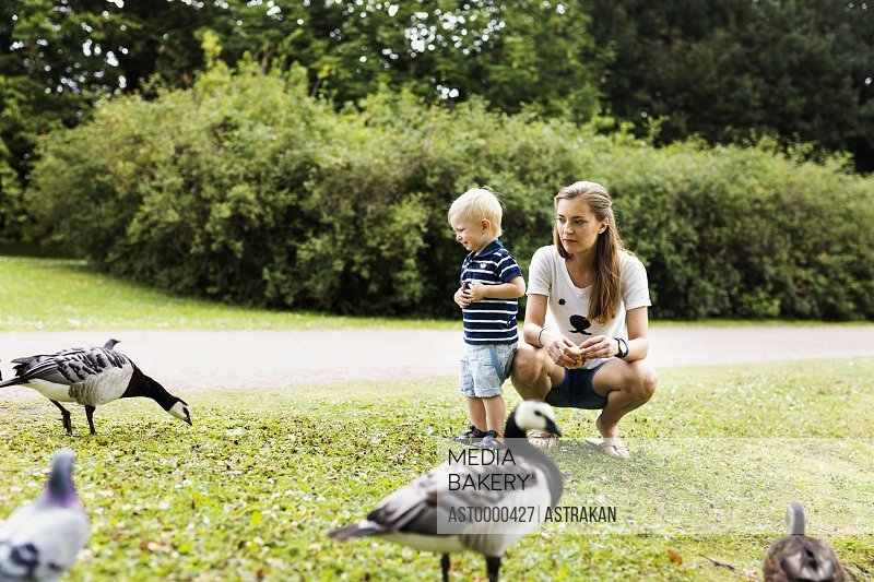 Full length of young woman with son watching geese in park