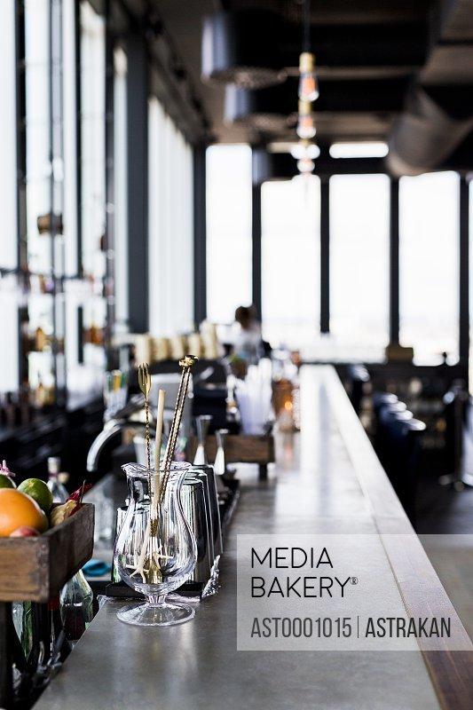 Bar counter at Skybar restaurant