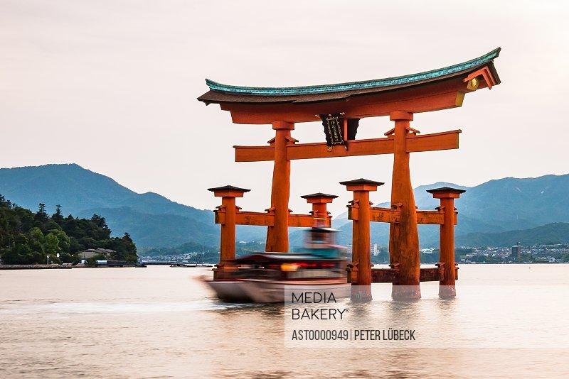 Giant floating torii gate outside Miyajima Itsukushima island near Hiroshima Japan