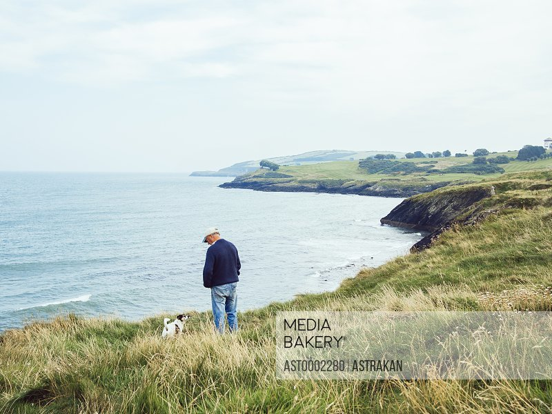 Rear view of man standing with dog on grassy hill by sea