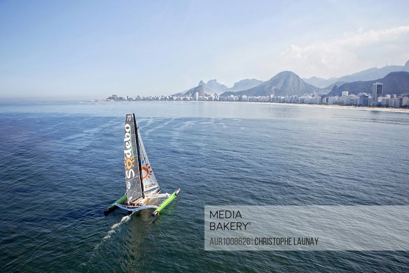 Thomas Coville and the Ultime Class 100' VPLP designed trimaran Sodebo in Rio de Janeiro, Brazil. Thomas Coville (FRA) and his 31m maxi trimaran Sodebo Ultim? has successfully broken the solo round the world record, completing the 28400 nm route in 49 days 3 hours 7 minutes and 38 seconds. <br><br><span style='color: red'>Editorial Use Only.</span><br><br>