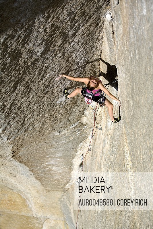 Beth Rodden on the female FA of Book of Hate, 5.13d in Yosemite National Park, California.