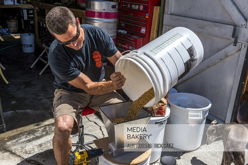 Photograph of man pouring beer ingredients into hopper for preparing craft beer, Bishop, California, USA