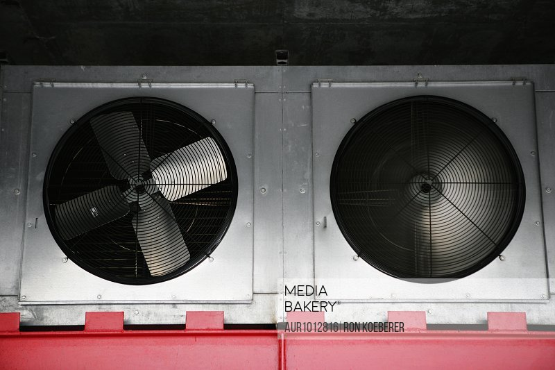 Two large industrial air fans.
