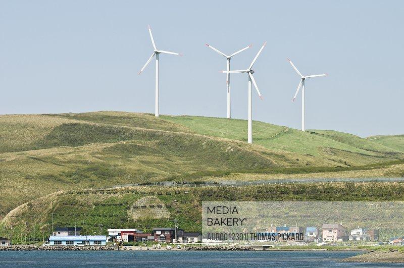 Wind turbines over Soya town, Hokkaido, Japan