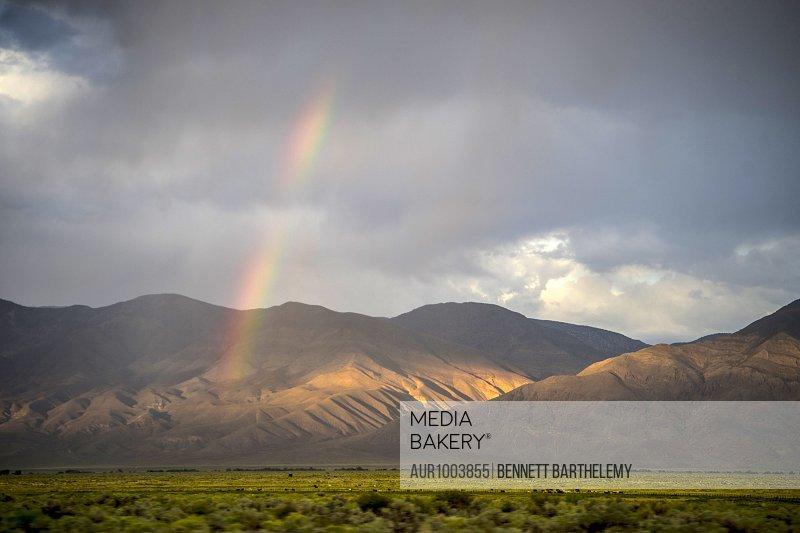 Rainbow over Owens Valley California, Bishop, California, USA