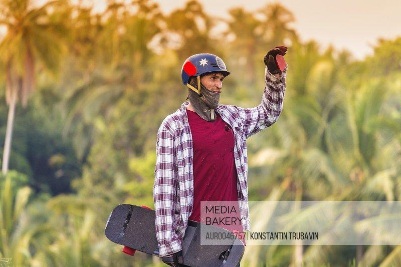 Portrait of skateboarder.