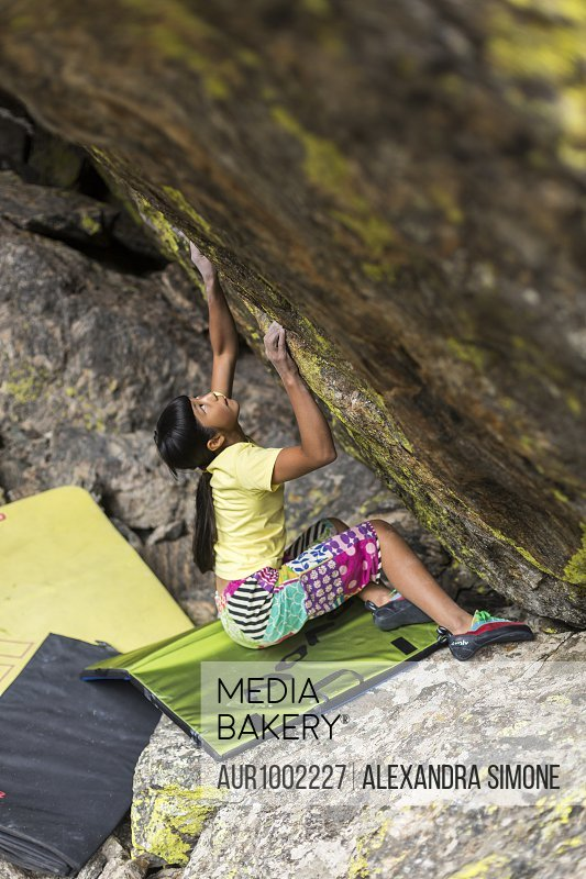 Ashima Shiraishi on a boulder problem in Rocky Mountain National Park, Colorado<br><br><span style='color: red'>Editorial Use Only.</span><br><br>