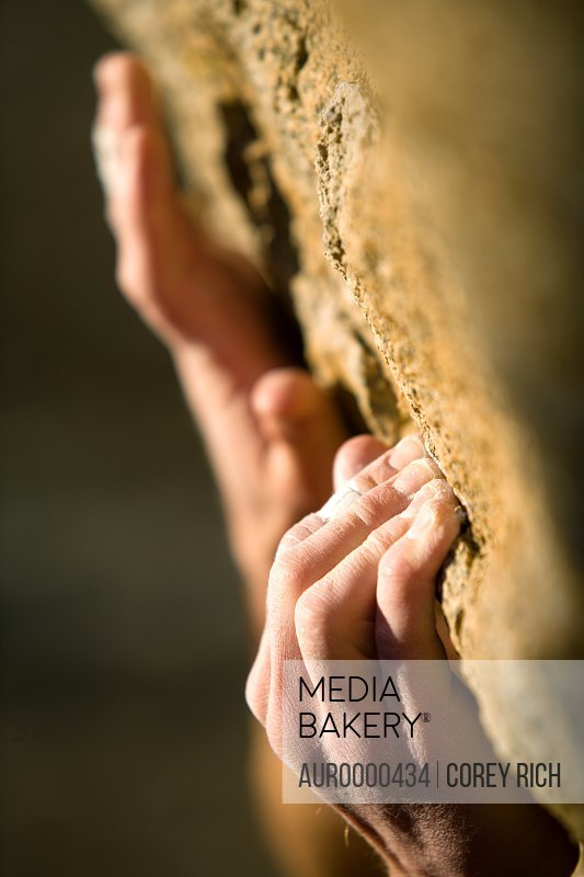 Climber's hands gripping onto rock.