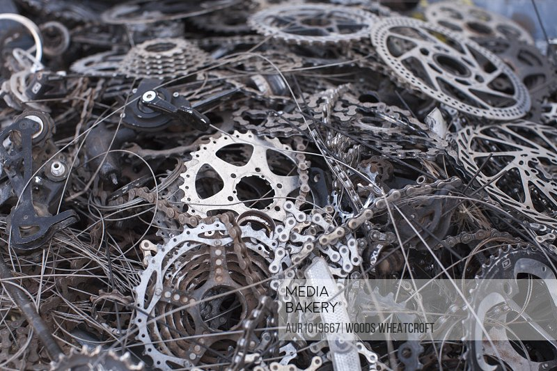 Abstract view of pile of bicycle parts, Moab, Utah, USA